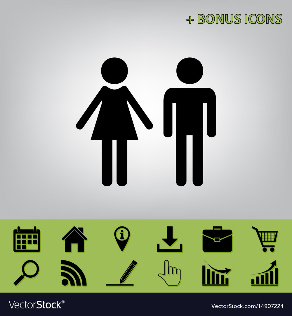 Male and female sign black icon at gray