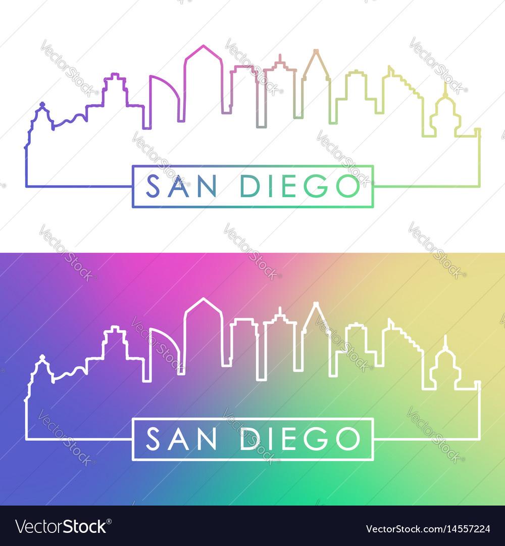 San diego skyline colorful linear style