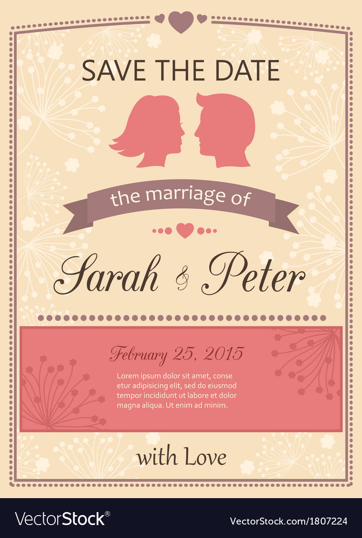 Save The Date Wedding Invitation Card Royalty Free Vector