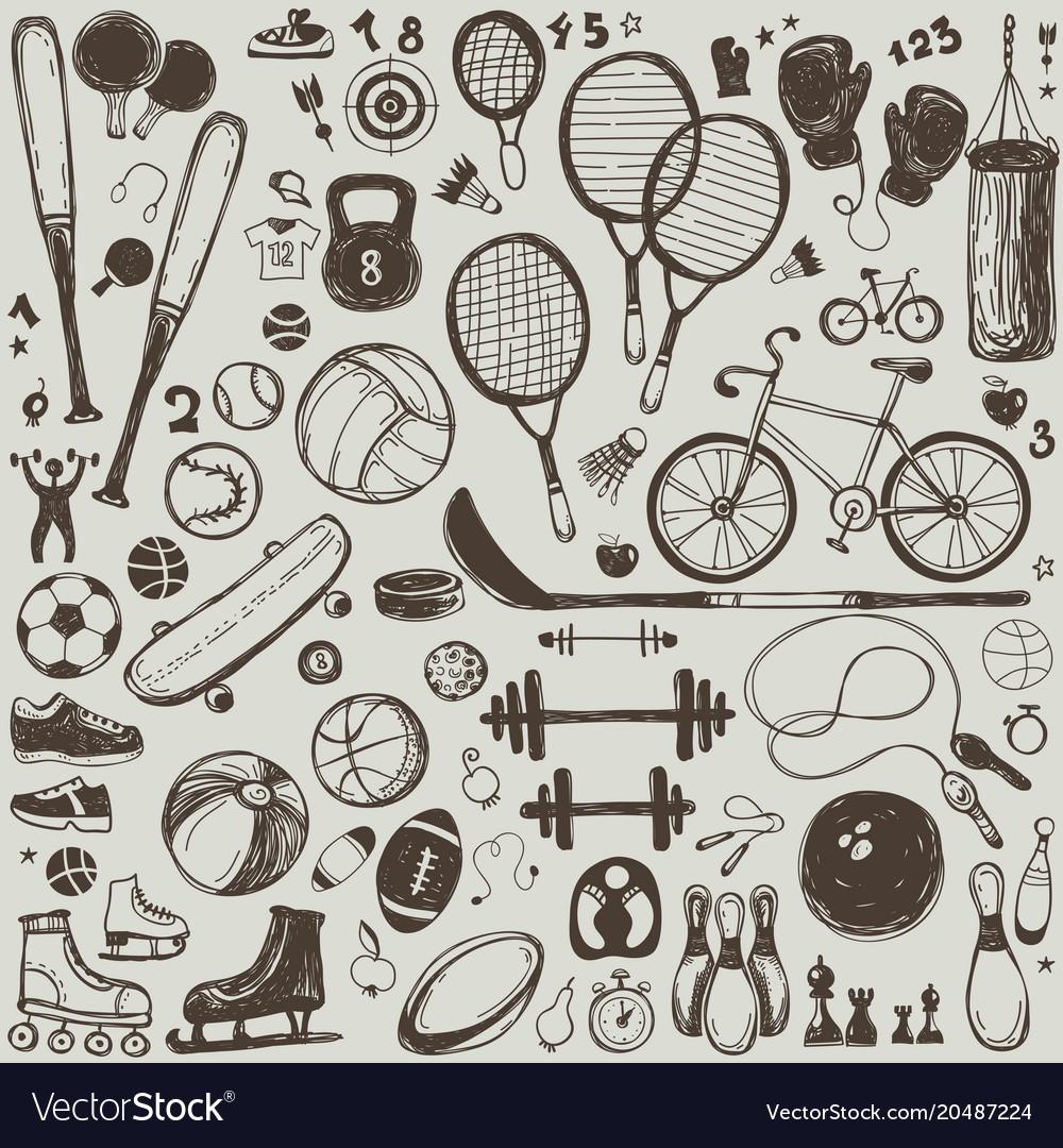 Sport sketch equipment hand drawn