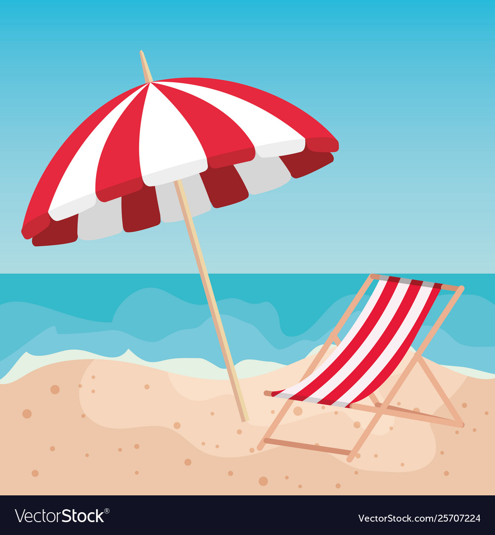 Tanning Chair In Sand Beach Vector Image