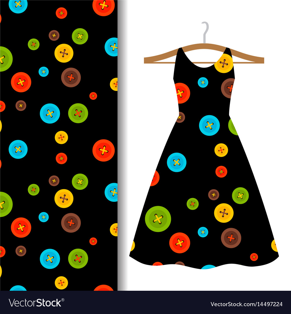Women dress fabric pattern with buttons