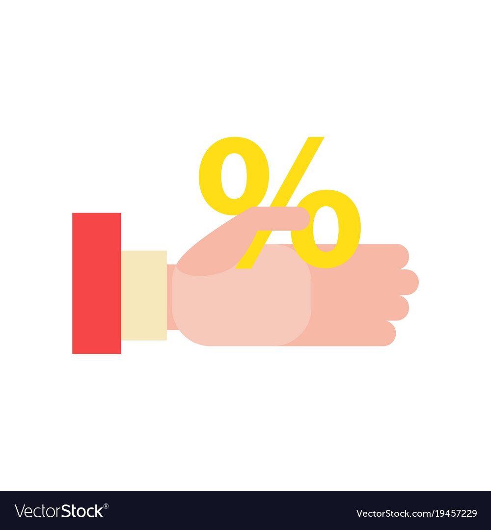Businessmans hand holds a percentage discount