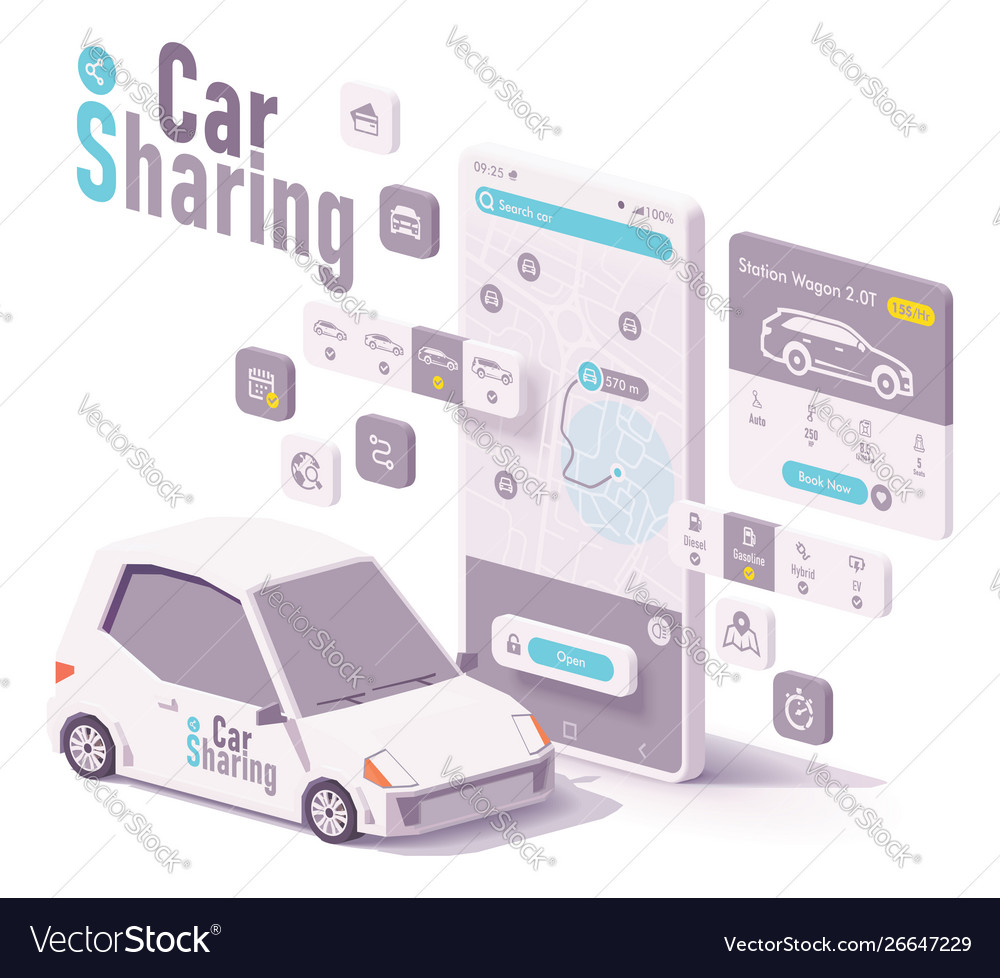 Car sharing and hire app concept
