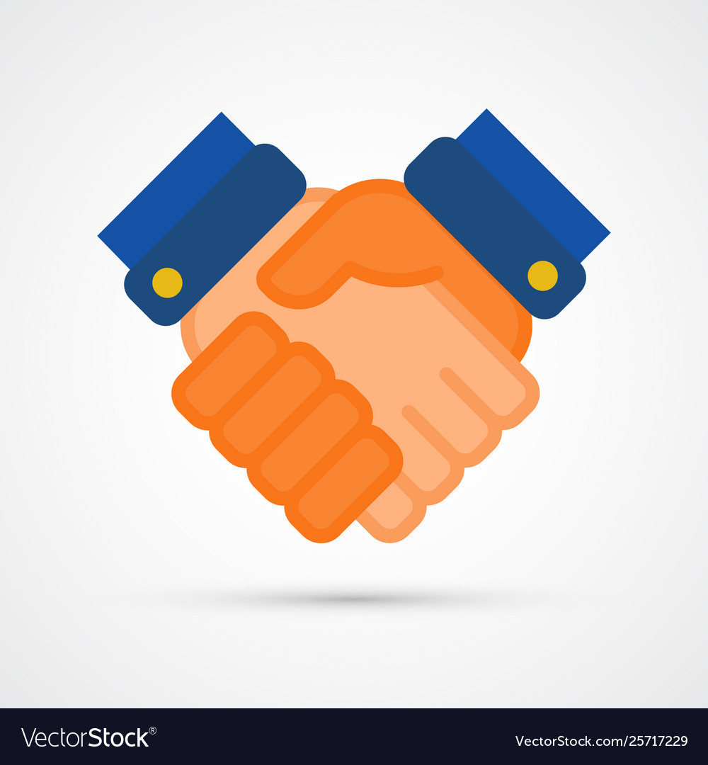 Colored hand shake trendy symbol