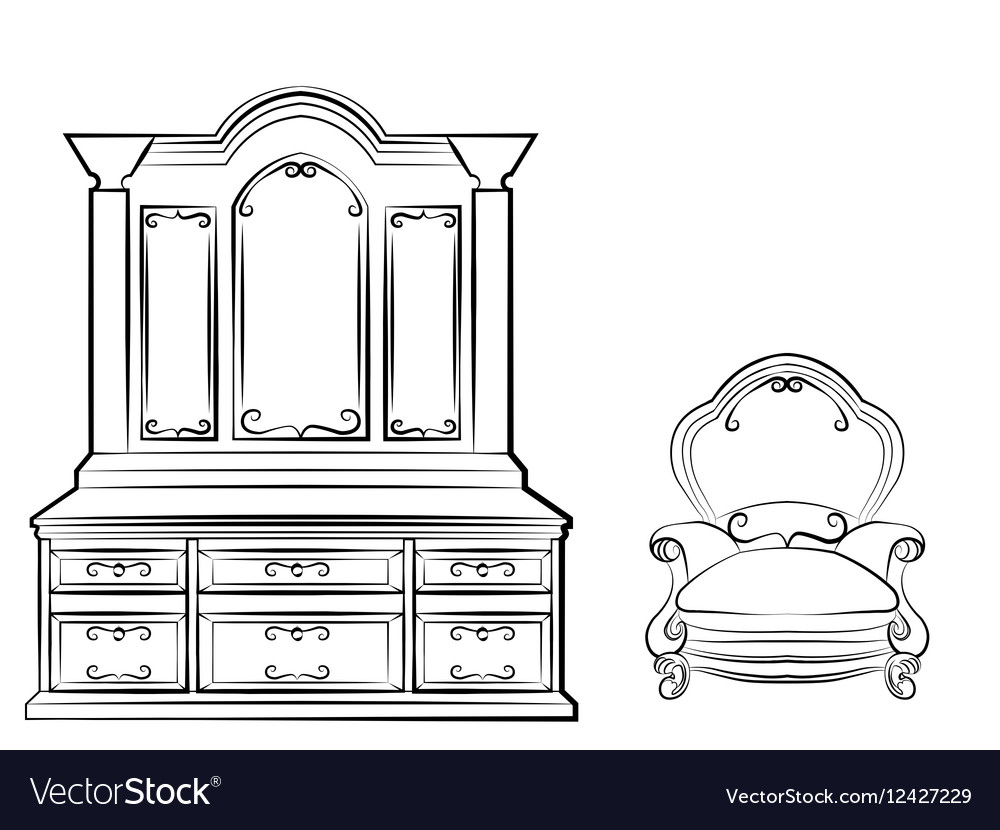 Dressing table with ornamented furniture