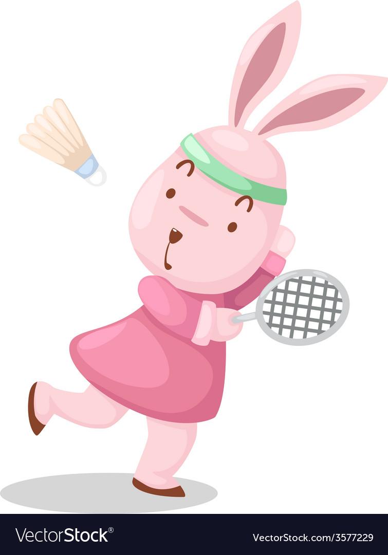 Girl rabbit playing badminton
