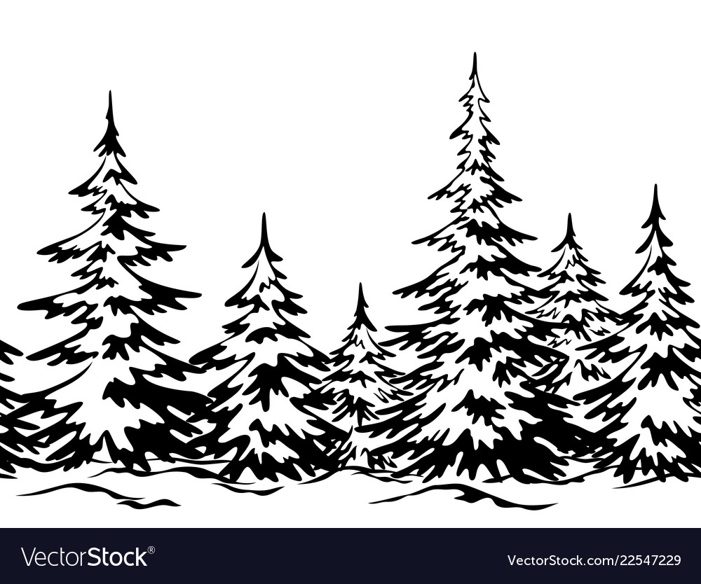 Landscape with christmas trees Royalty Free Vector Image