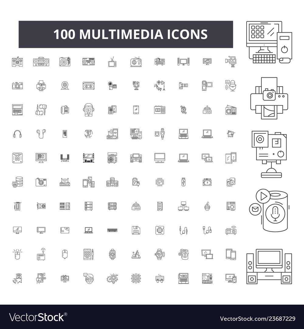 Multimedia editable line icons 100 set