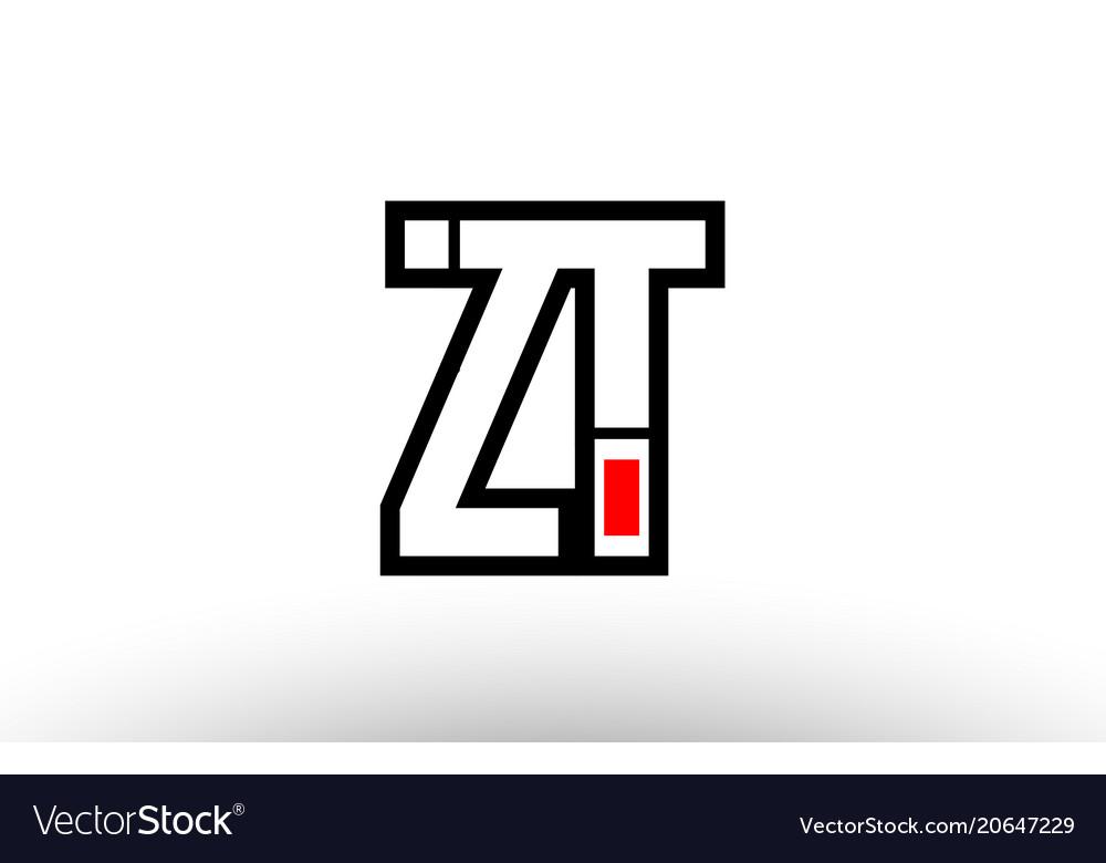 Red and black alphabet letter zt z t logo
