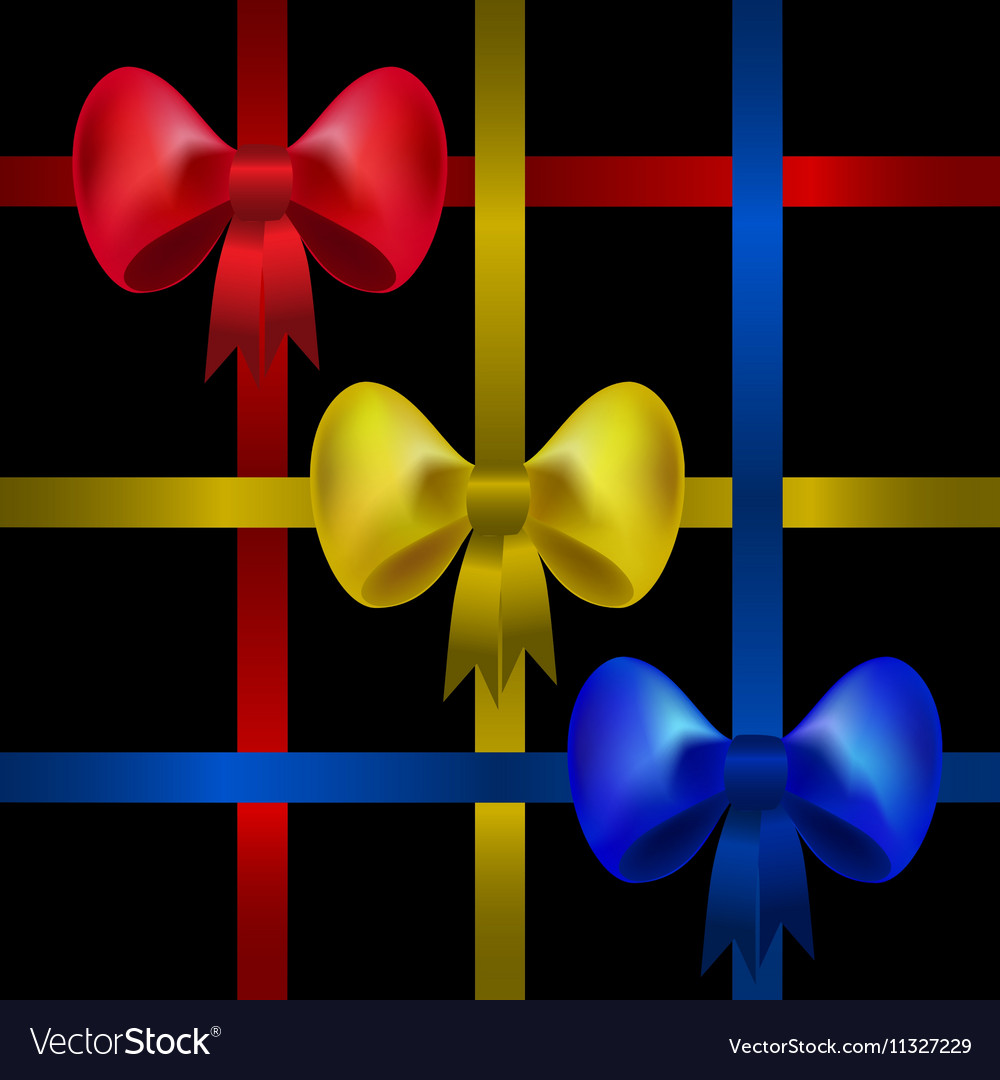 Set of red yellow and blue gift bows with ribbons