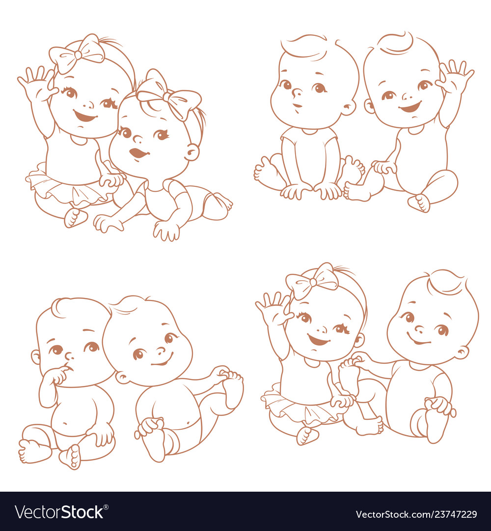 Set with cute little twin babies