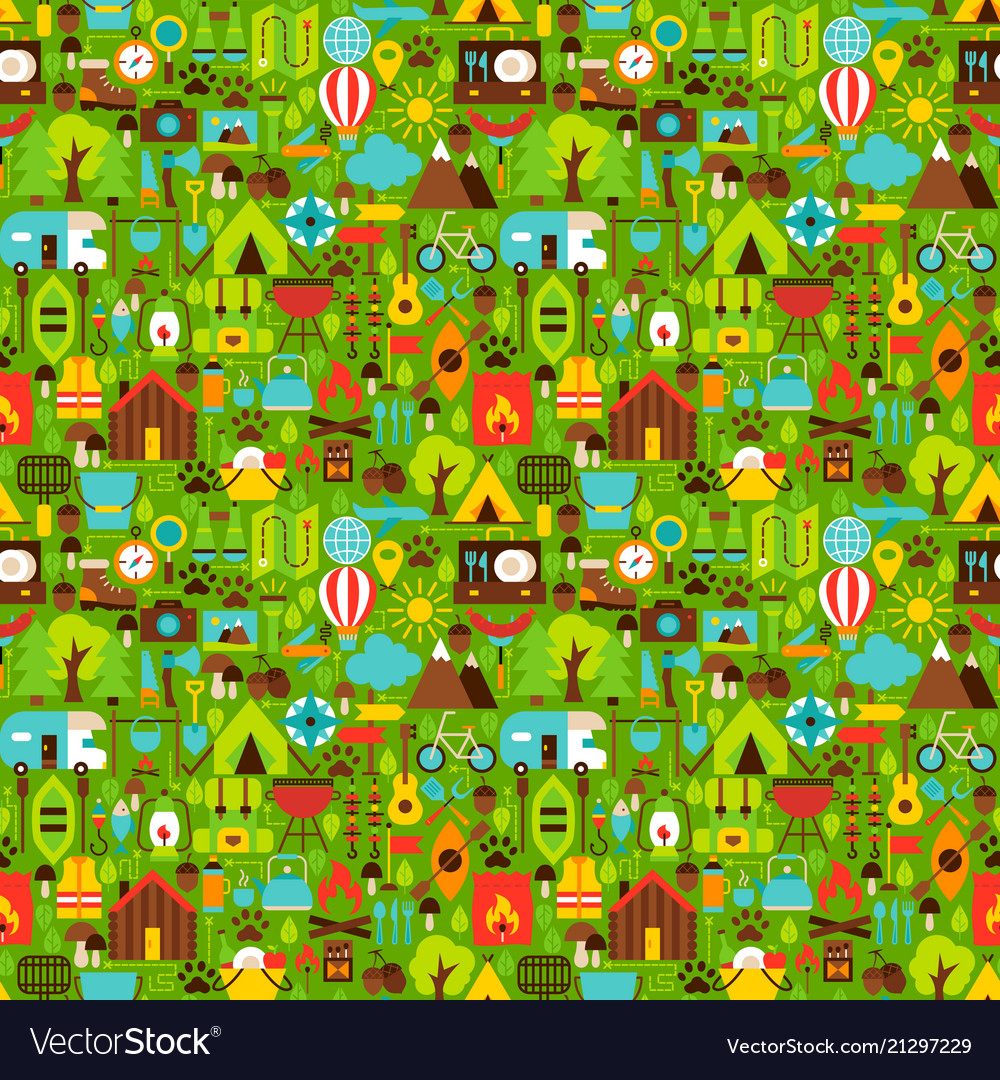 Summer camping seamless pattern vector image