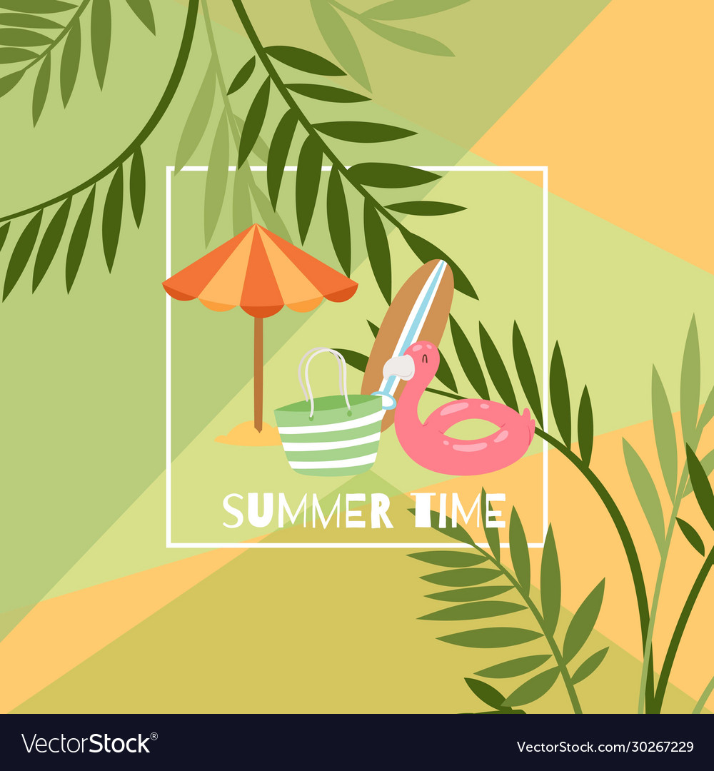 Summer time exotic travel poster with umbrella