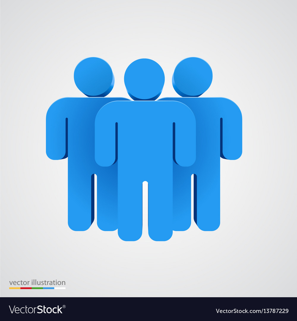 Three-dimensional people group teamwork concept