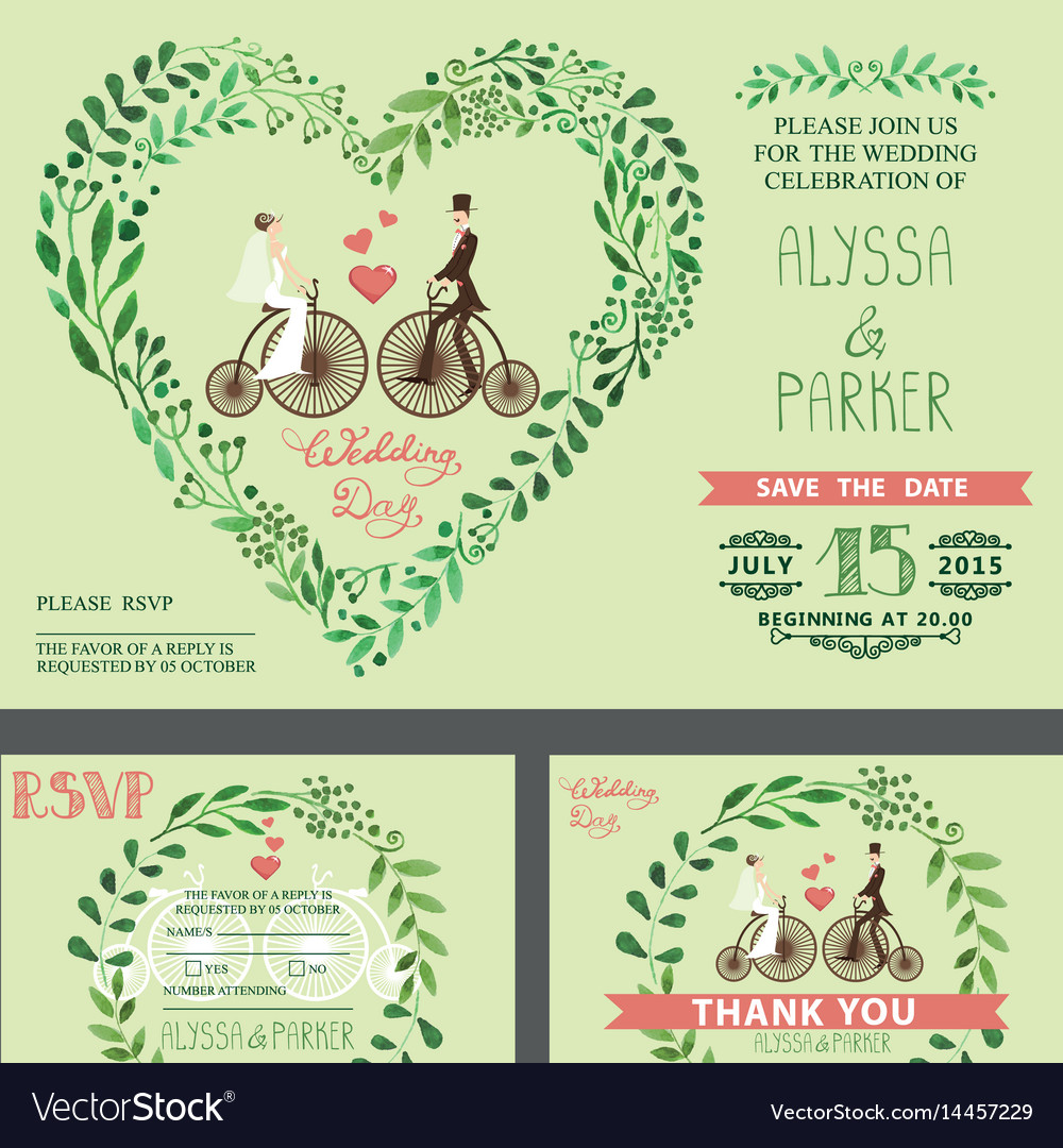 Wedding invitationgreen branches bridegroom