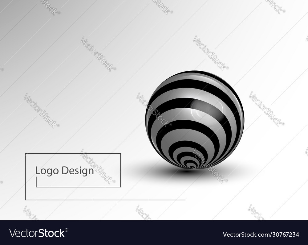 Black and white striped 3d sphere realistic light