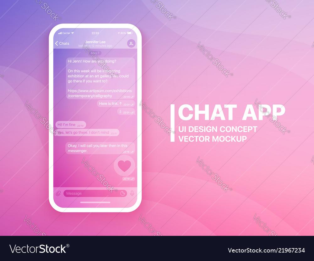 Mobile chat app mockup