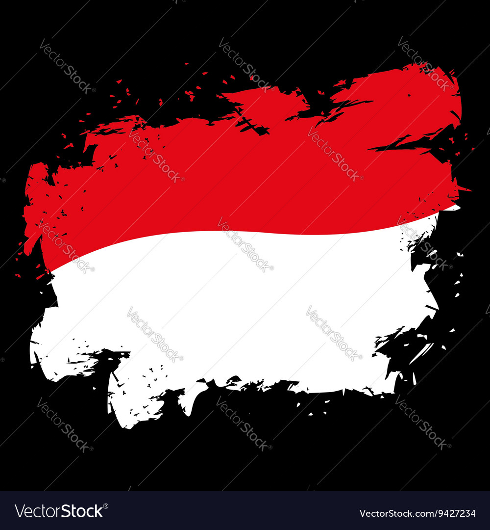 Monaco flag grunge style on black background Brush vector image