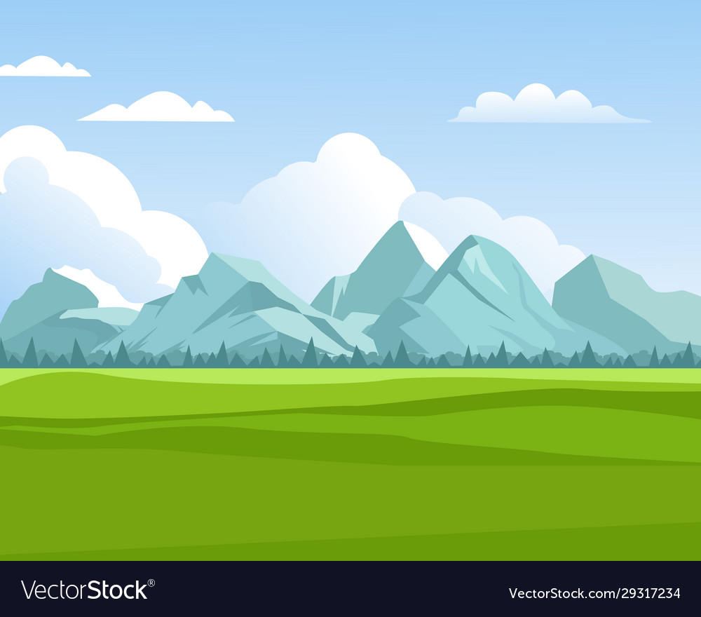 Mountains background outdoor green meadows