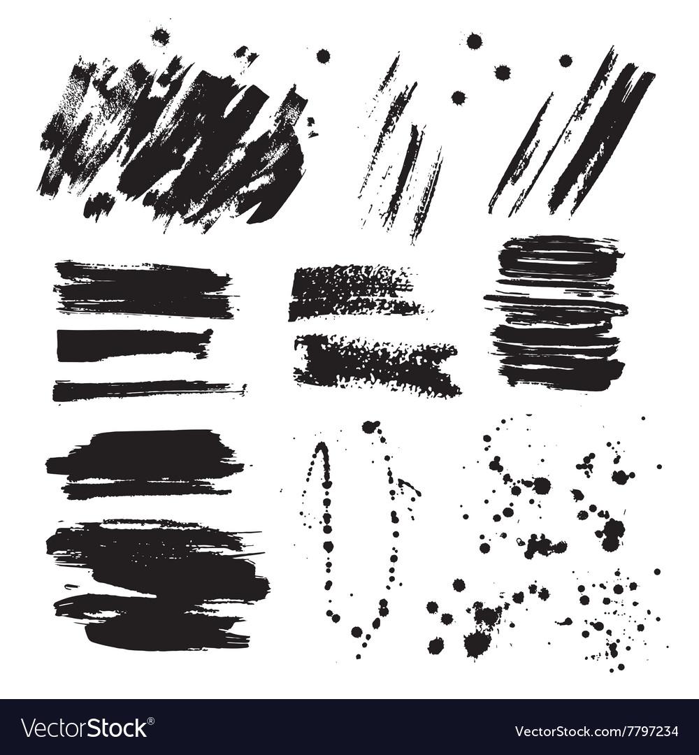 Set of ink black blots and splashes vector image