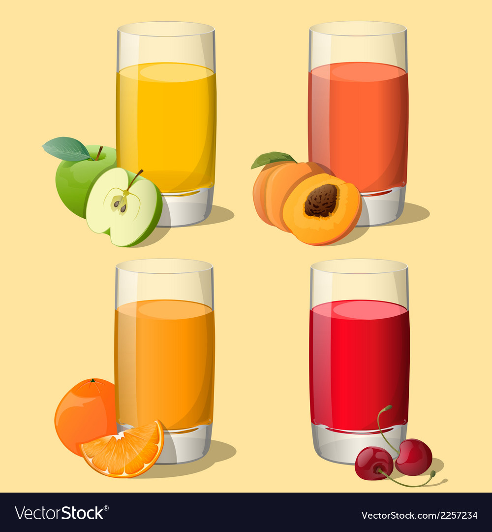 Set of juices in glass