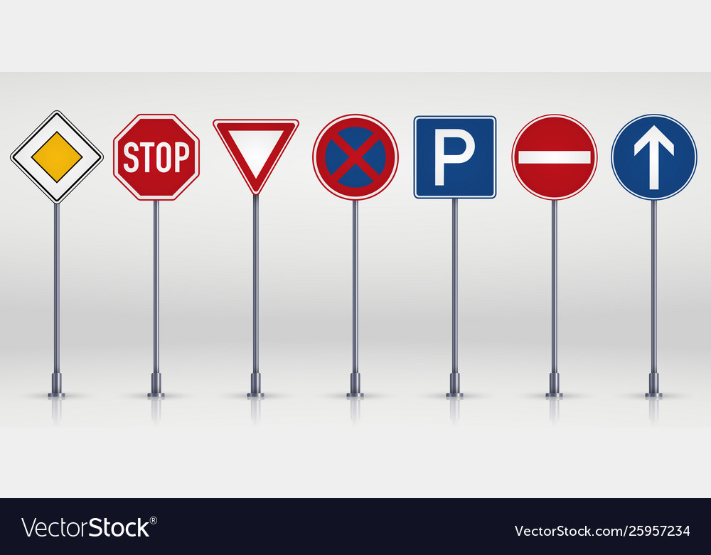 Set road signs isolated