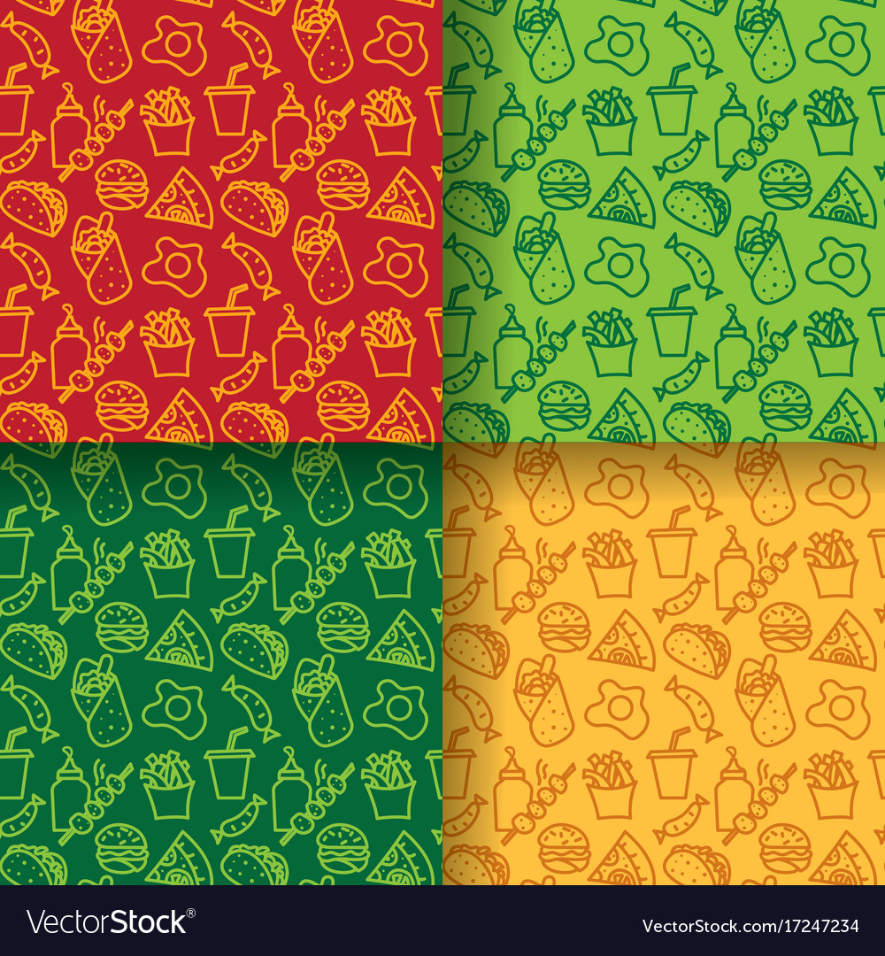 Street food seamless patterns