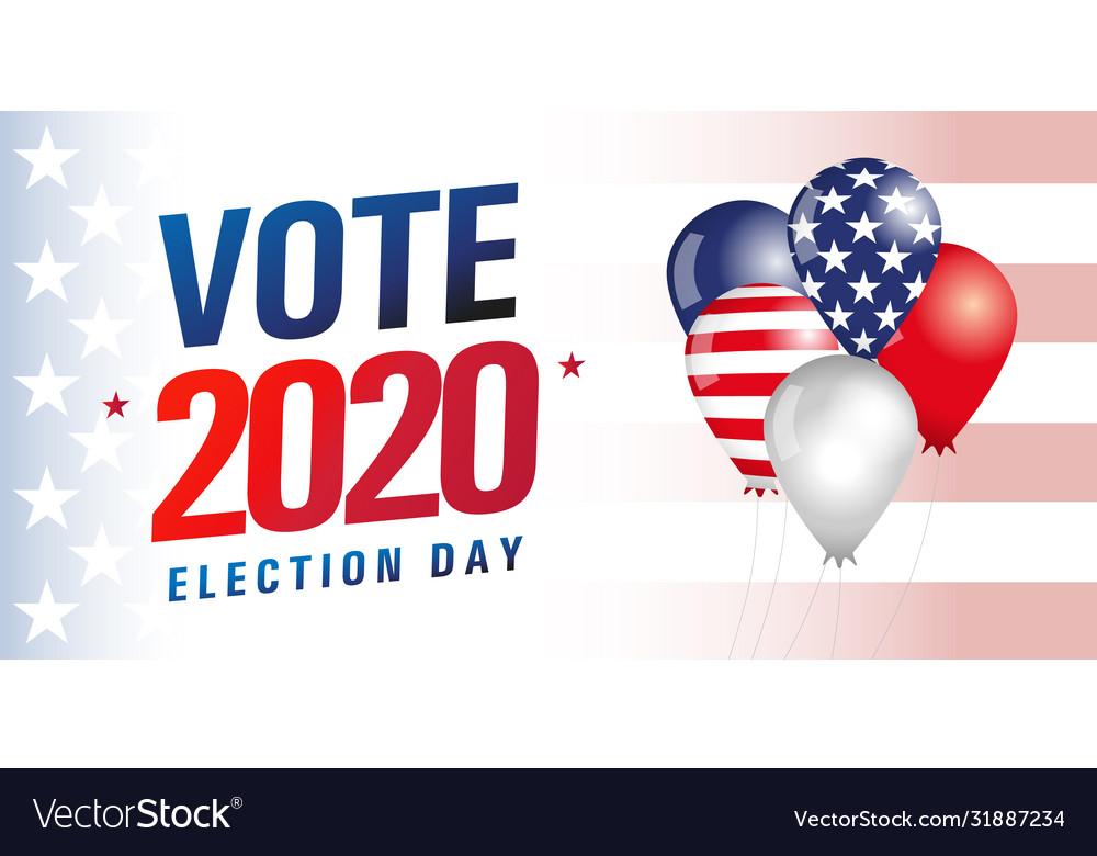 Vote usa 2020 balloons flag banner