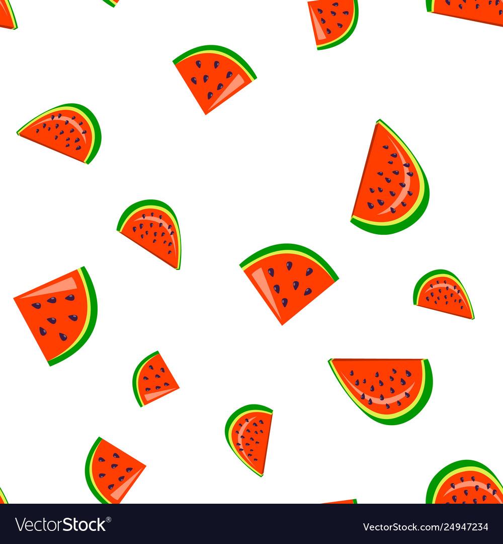 Watermelon fresh slices cartoon seamless