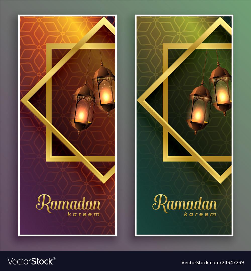 Amazing ramadan kareem banners with hanging lamps