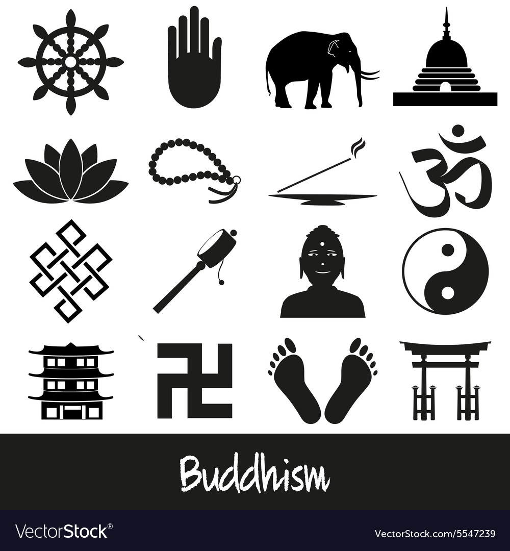 Buddhism Religions Symbols Set Of Icons Eps10 Vector Image