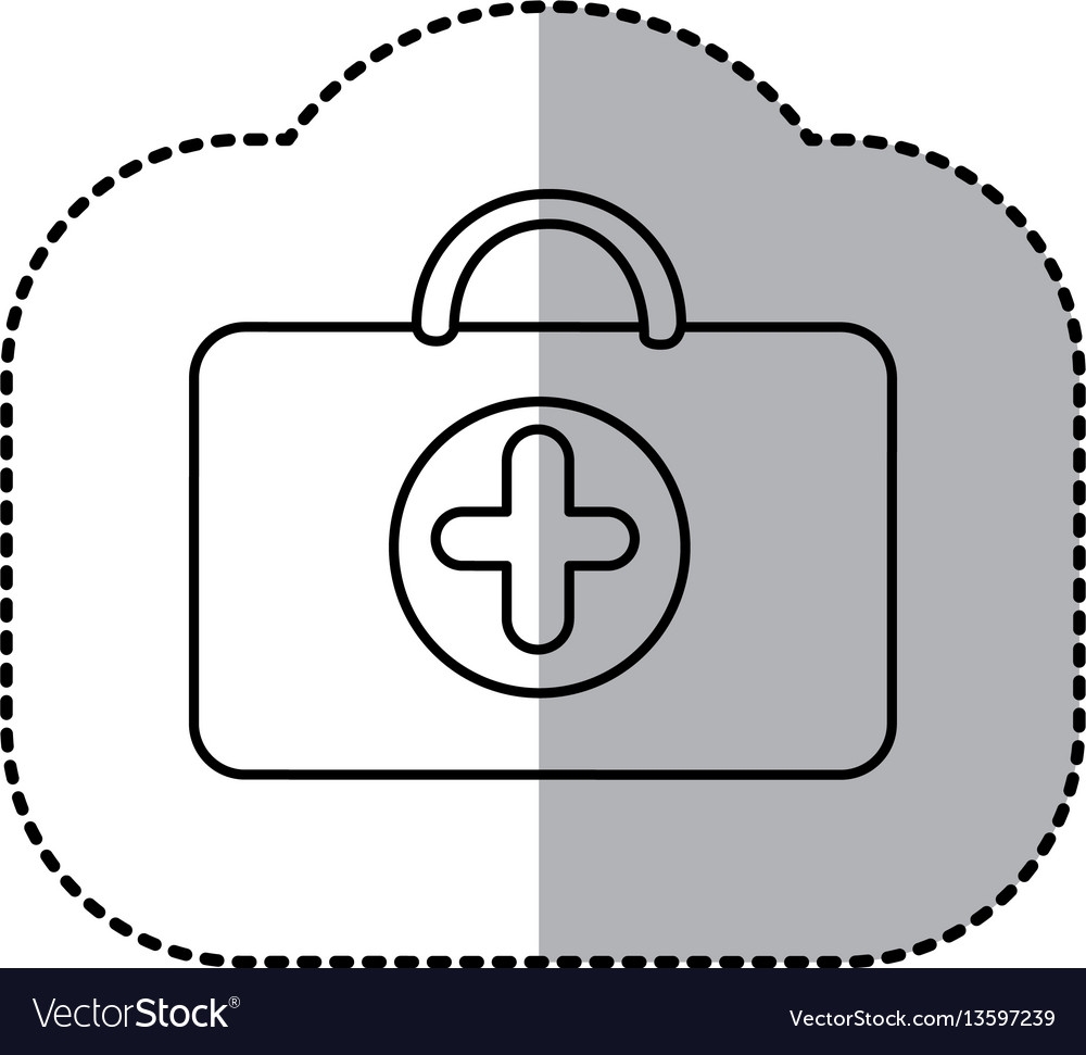 Contour suitcase healthcare with hospital symbol vector image