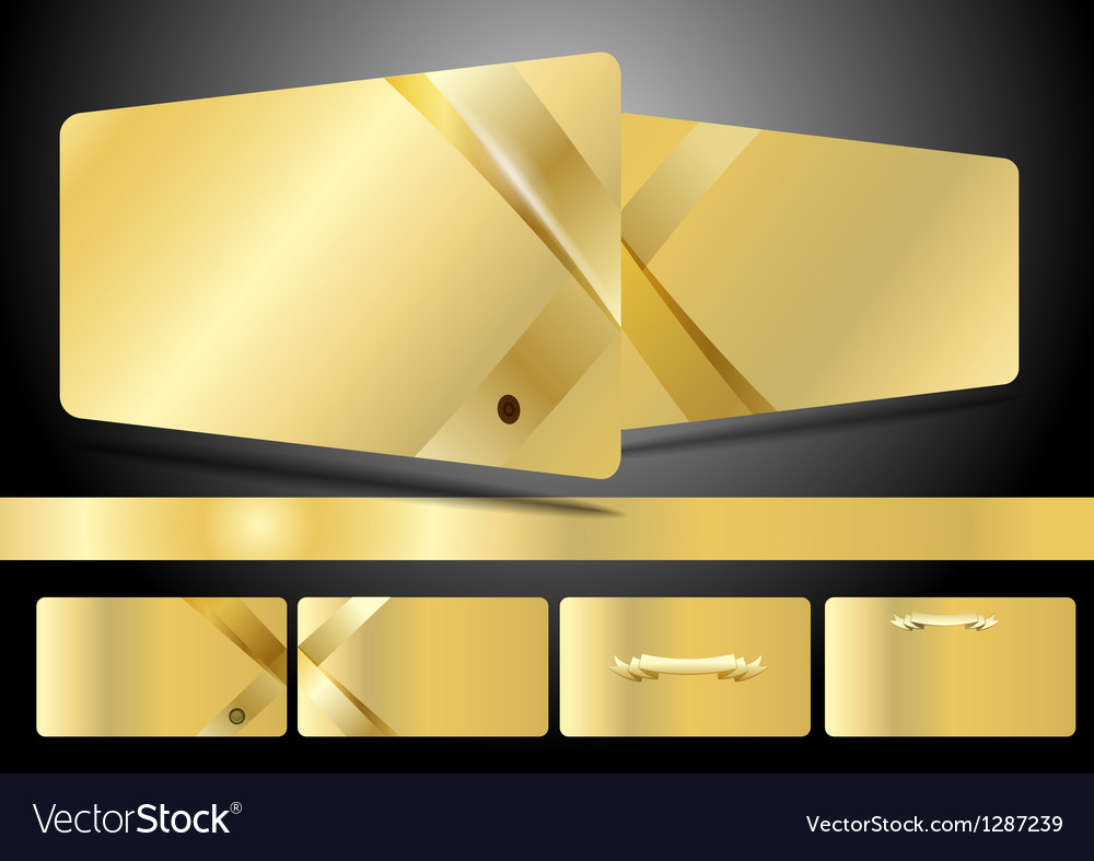 Gold business cards set Royalty Free Vector Image