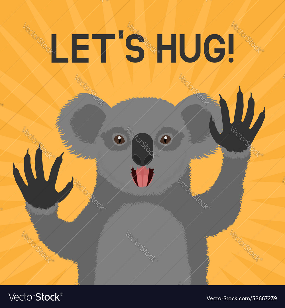 Greeting card with smiling koala with text lets
