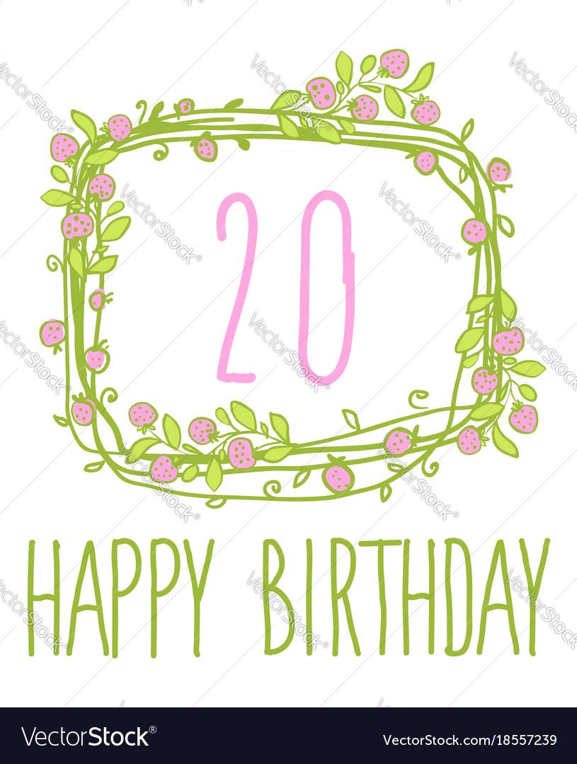 Happy birthday card invitation with set Royalty Free Vector