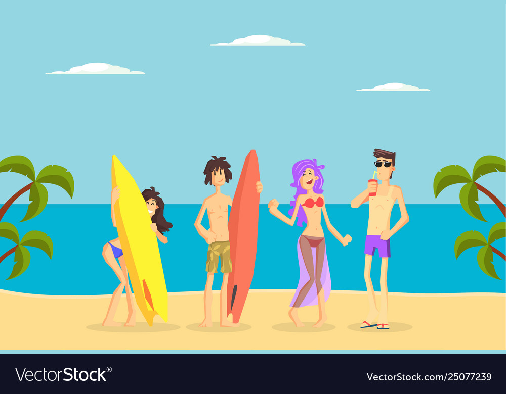 Happy people standing with surfboards on tropical vector
