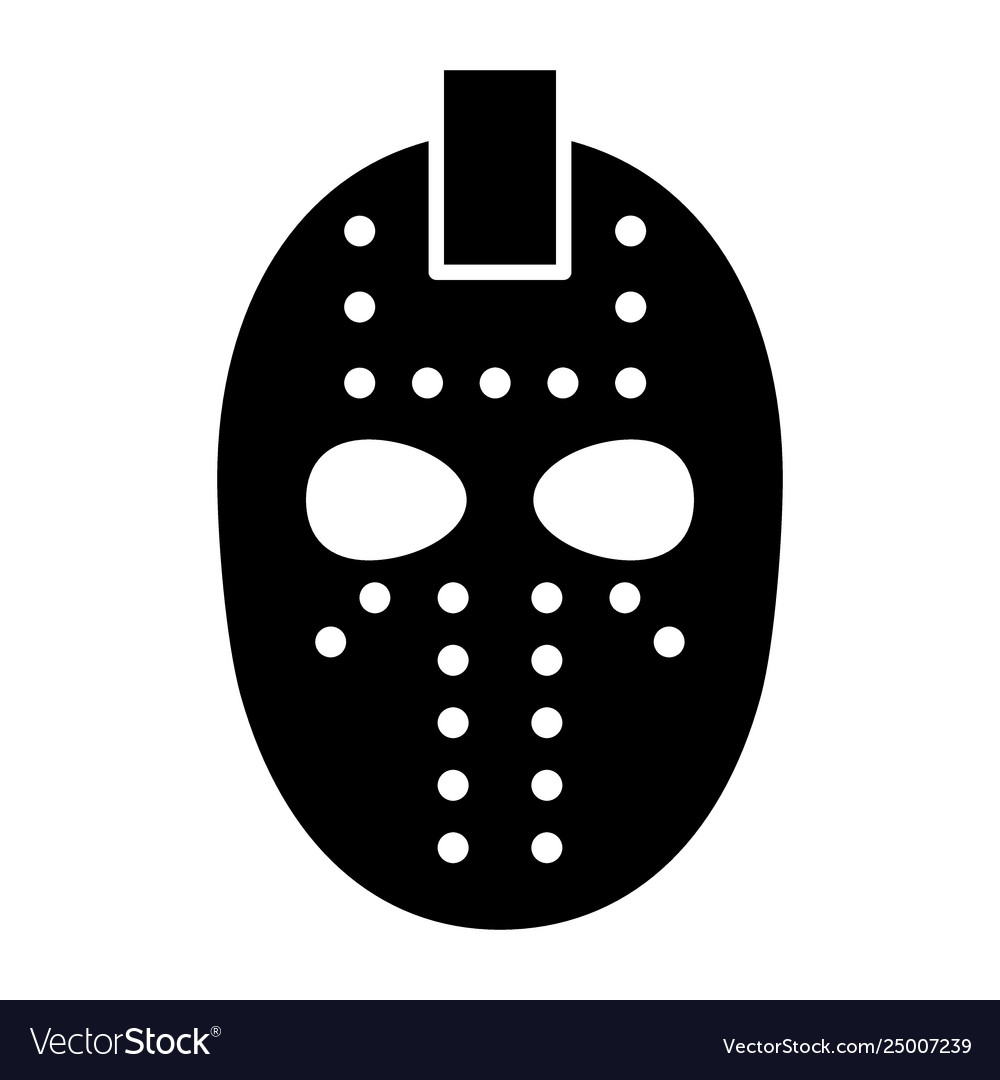 Hockey Mask Solid Icon Goalie Mask Royalty Free Vector Image