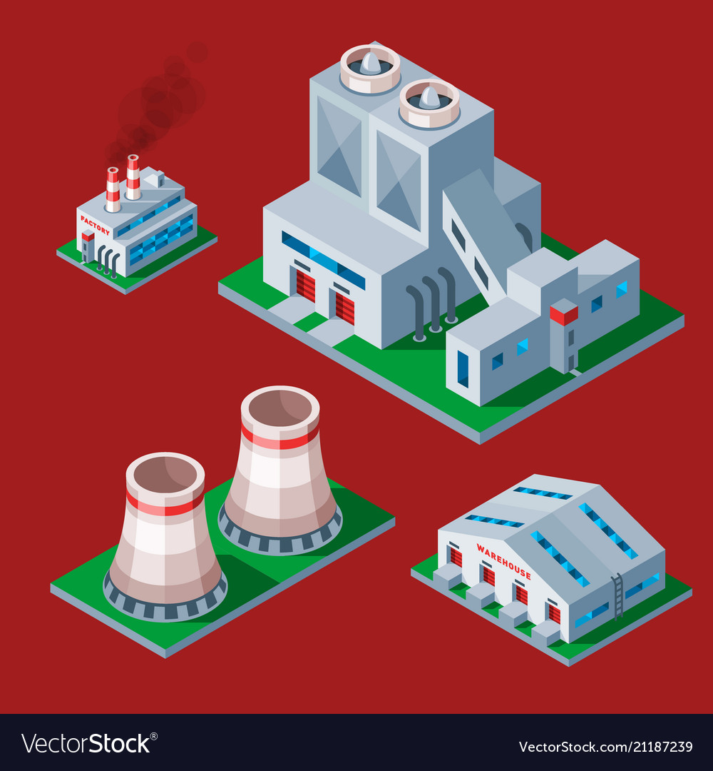 Isometric factory building icon industrial element
