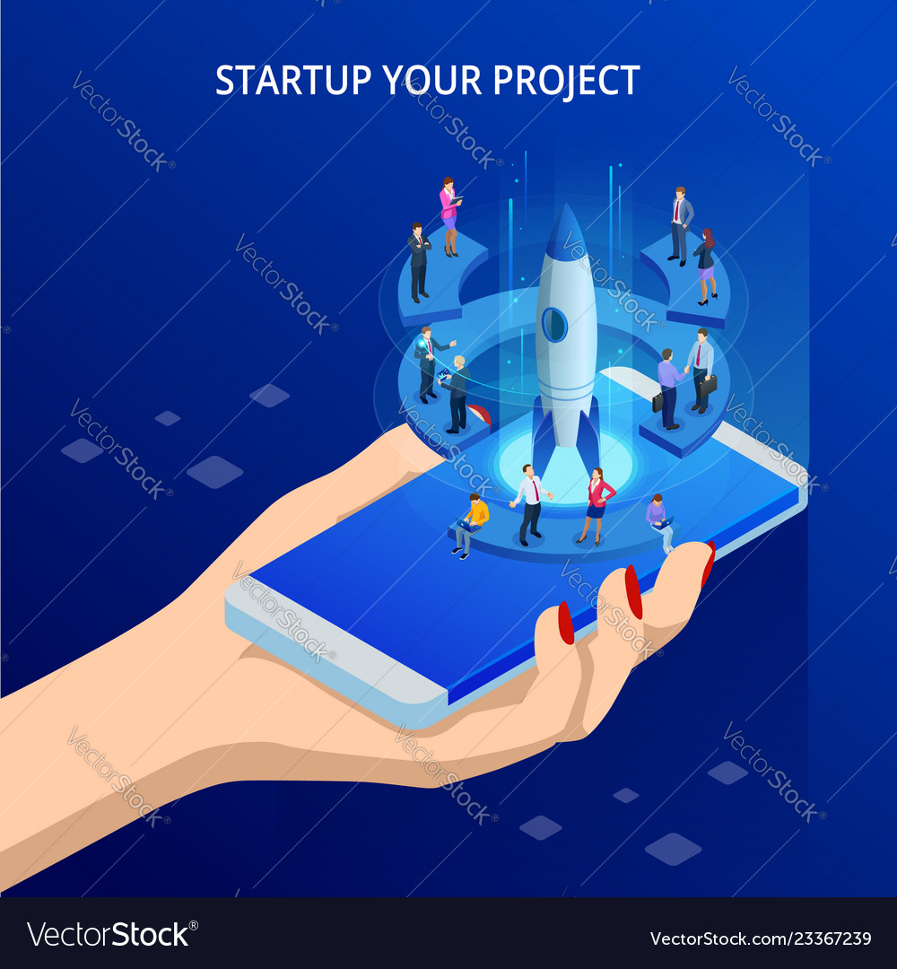 Isometric online businnes start up for web page