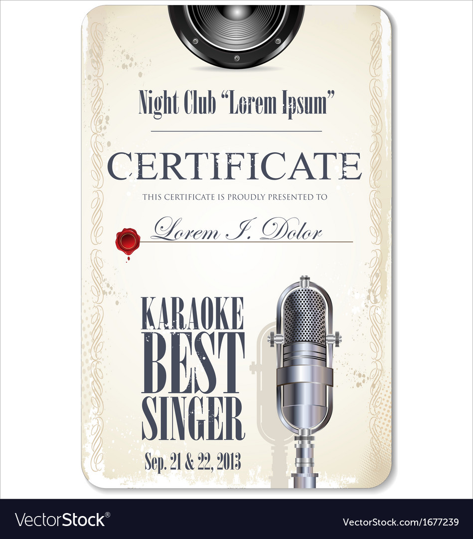 Karaoke certificate template best singer vector image yelopaper Images