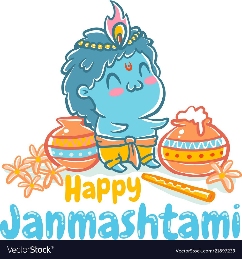 happy krishna janmashtami greeting card