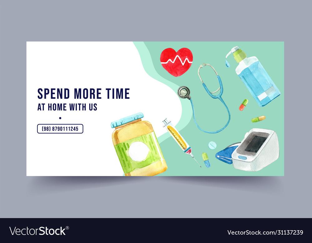 Medical fb social media design with watercolor