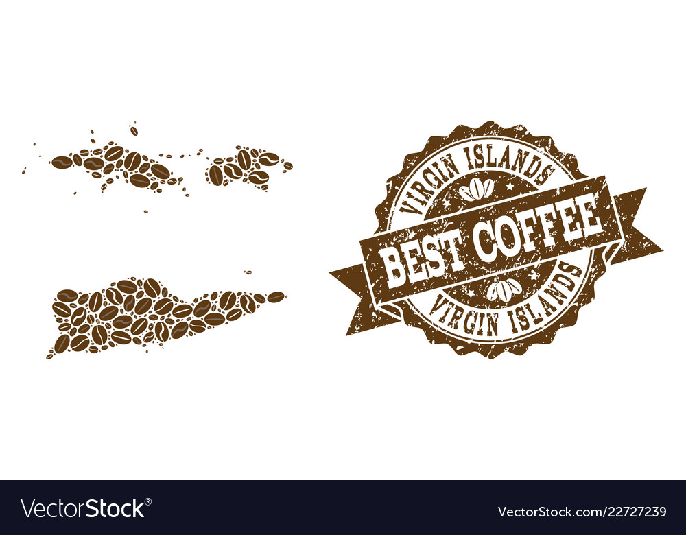 Mosaic map of american virgin islands with coffee Vector Image