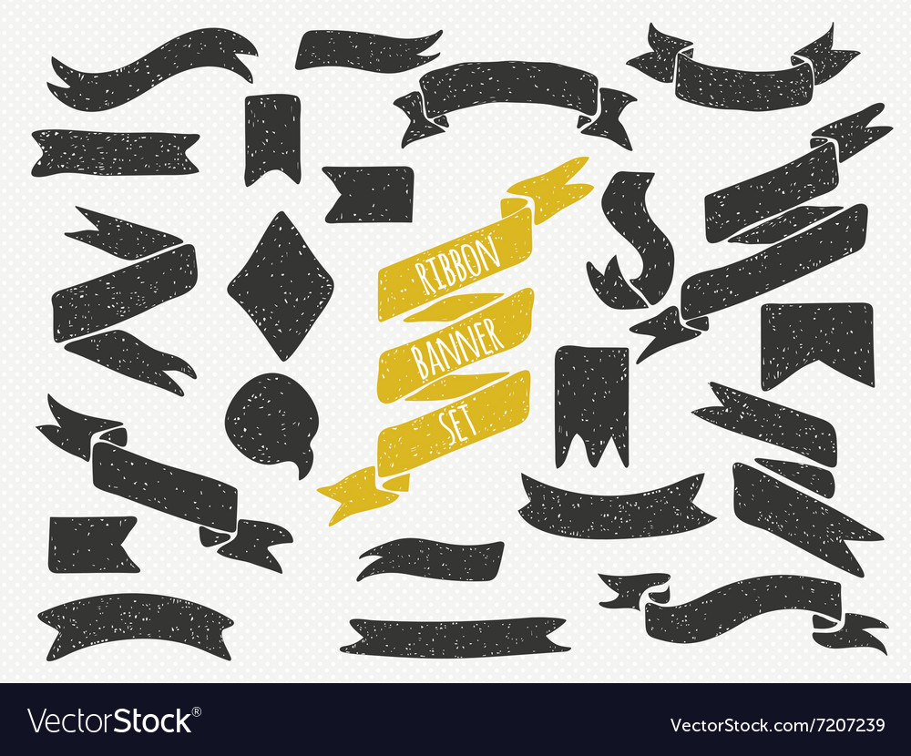 Set of cute hand drawn banners vector image