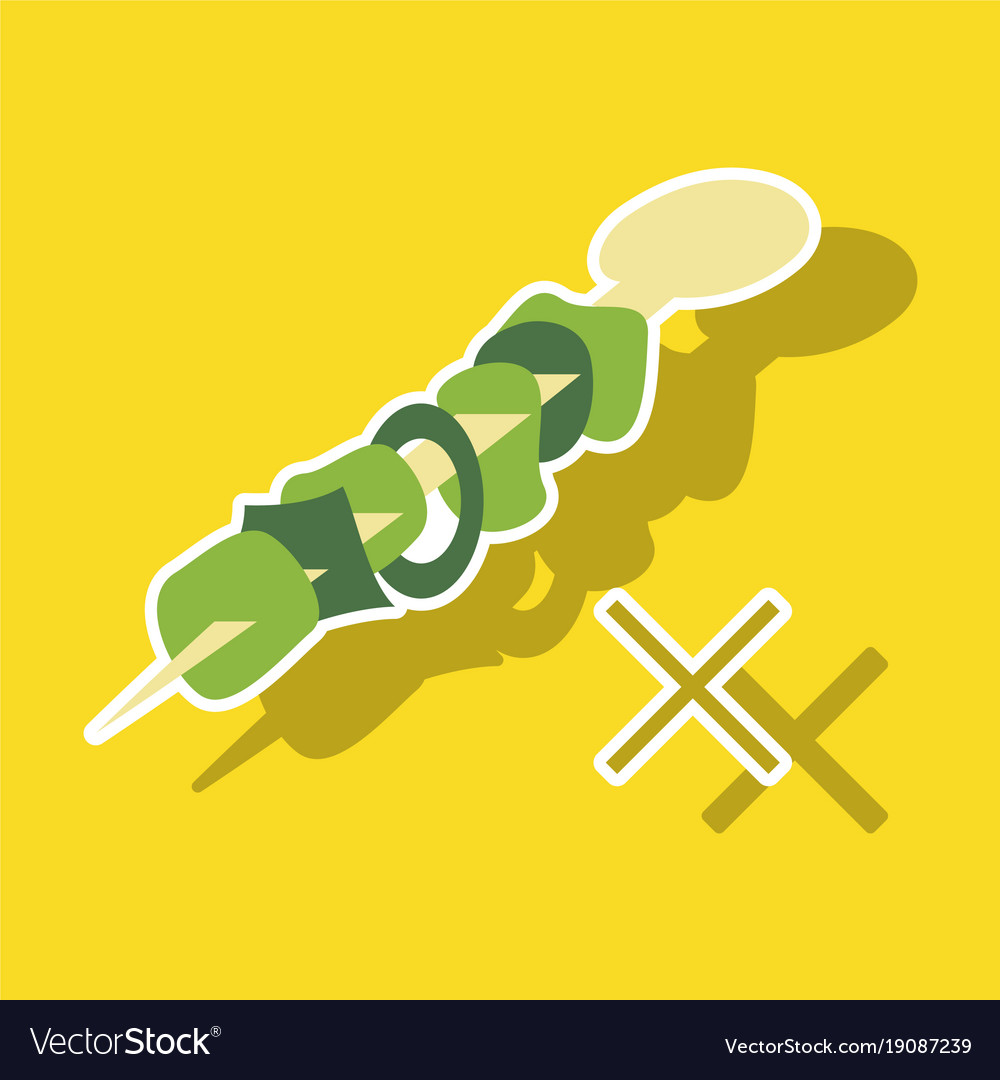 Sticker cartoon of meat sauce grill and other