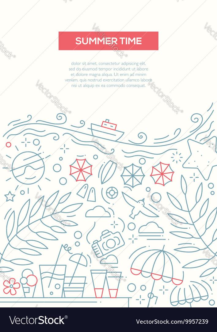 Summer Time - line design brochure poster template