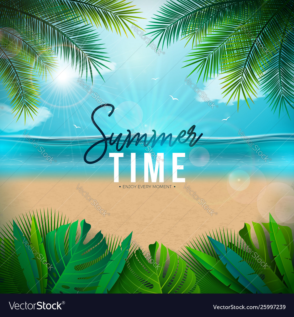 Summer time with palm leaves