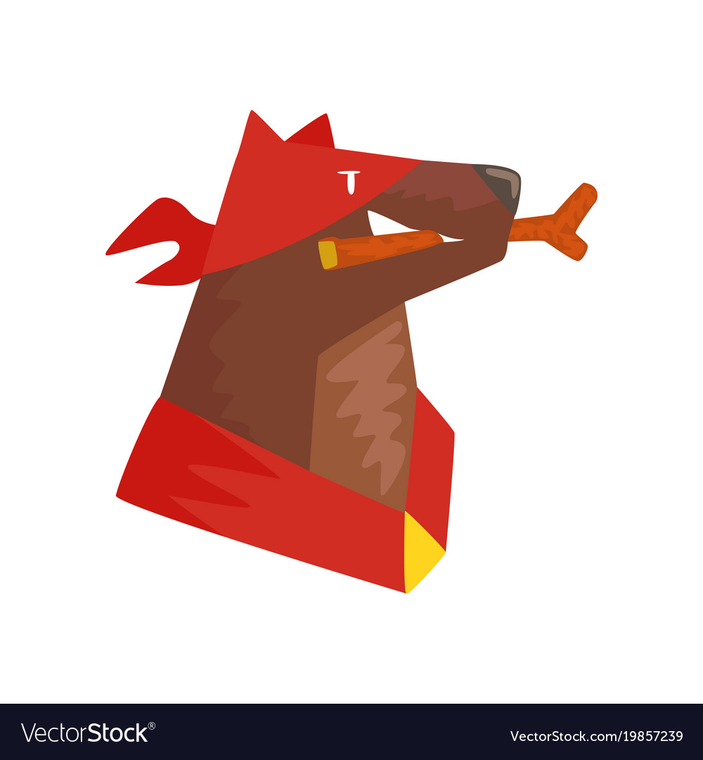 Superhero dog character with wooden stick in its