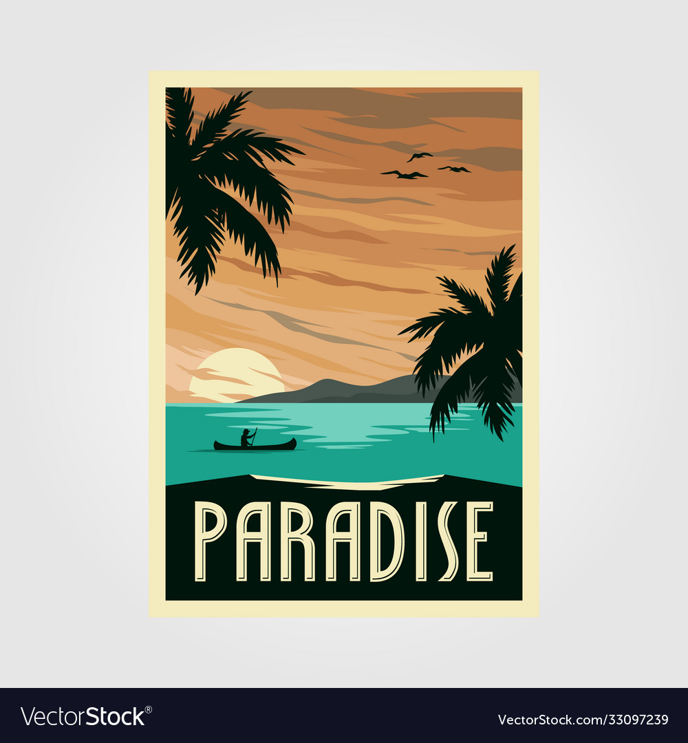 Tropical paradise beach vintage poster design
